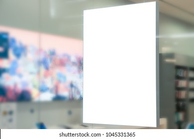 Blank Billboard Poster in front of store in the shopping mall, advertisement design