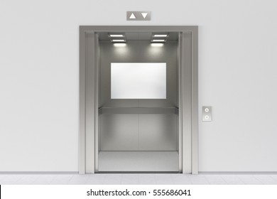 Blank billboard or poster inside of empty elevator cabin. Include clipping path around billboard ad space. 3d render