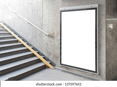 Blank billboard or poster located in underground hall useful for your advertising