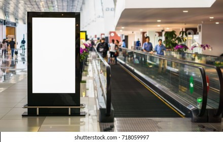 Blank billboard posters in the airport,Empty advertising billboard at aerodrome