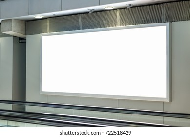 Blank billboard posters in the airport,Empty advertising billboard