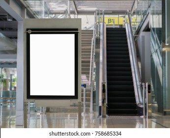 Blank billboard posters in the airport,Empty advertising billboard.