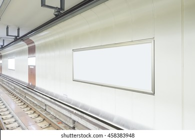 Blank billboard in public place. shot in subway station.