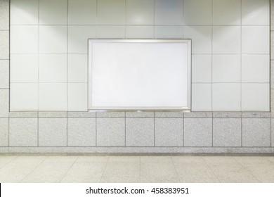 Blank billboard in public place. shot in subway station.
