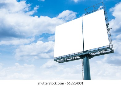 Blank billboard ready for new advertisement and blue sky