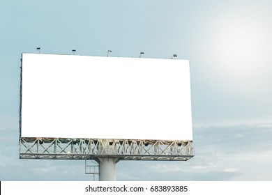 Blank billboard ready for new advertisement,Blank billboard at blue sky background