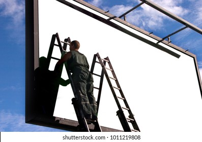 Blank billboard ready to use for mockup advertisement, out of home marketing street media.worker strengthens a billboard