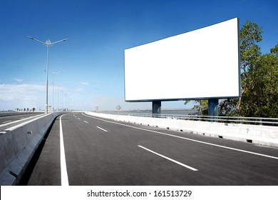 blank billboard or road sign on the highway
