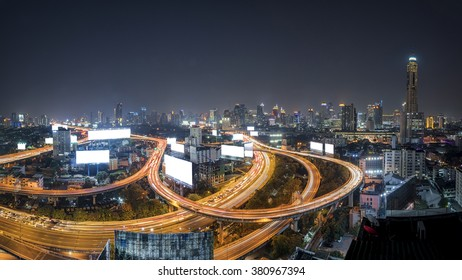 blank billboard or road sign on the highway ,top view Bangkok City at night,