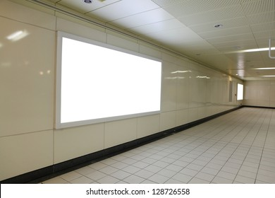 Blank billboard in subway metro station with copy space , shot in Taipei, Taiwan, asia