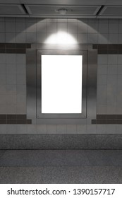 Blank billboard in subway or metro station, Useful for advertising.