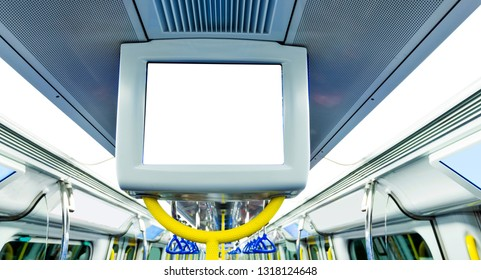 Blank billboard in subway train.