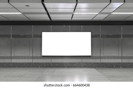 Blank billboard in subway. Useful for your advertising.