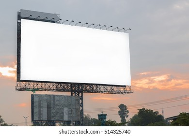 Blank billboard and sunlight of sunrise in the morning - can advertisement for display or montage product and business