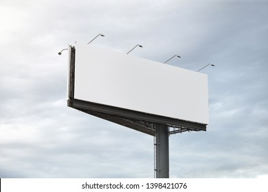 Blank billboard template in sky background for advertisement