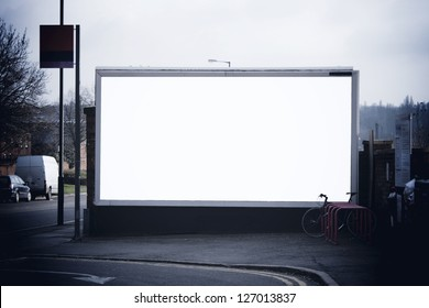 Blank billboard at train station