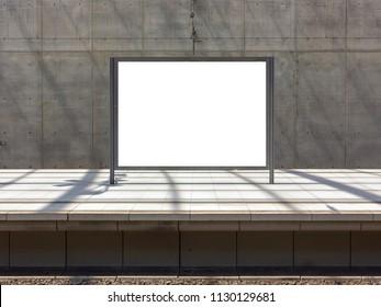 Blank billboard, train station, white mockup, advertising space