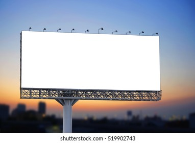 Blank billboard at twilight for design work