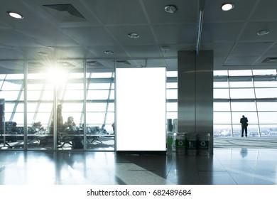 Blank billboard in waiting hall