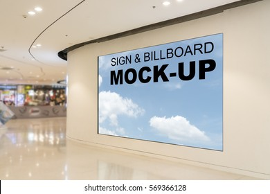 Blank billboards located in shopping mall or retail shop, useful for your advertising, with clipping path.