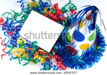 blank birthday card ribbon party hat stock photo edit now 6896197