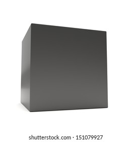 Blank black 3d cube in perspective on white background