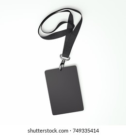 Blank black badge with tape isolated on white background. 3d rendering