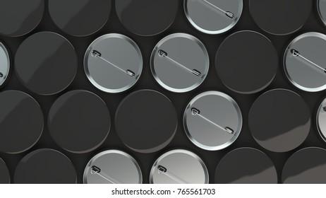 Blank black badges on black background. Pin button mockup. 3D rendering illustration