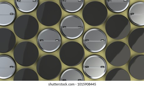 Blank black badges on yellow background. Pin button mockup. 3D rendering illustration