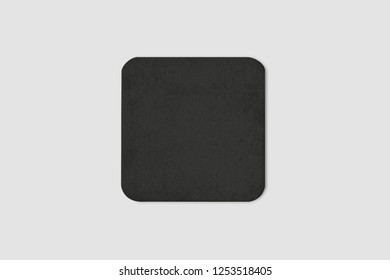 Blank black beer coaster mockup, top view, lying on white background. Squared clear can mat design mock up isolated.High resolution photo.
