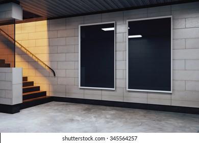 Blank black billboards in empty subway hall, mock up 3D Render