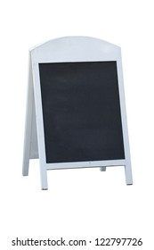 Blank black board stand sign isolated on white background.