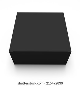 Blank black box top front view isolated on white background