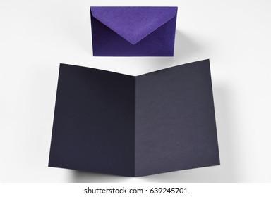 Blank black card and envelope