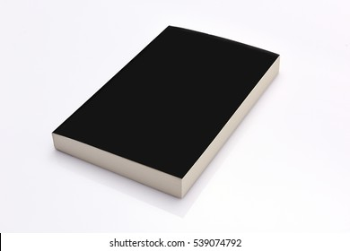Blank black cover book on white background