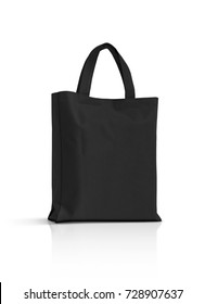 blank black fabric canvas bag for shopping isolated on white background