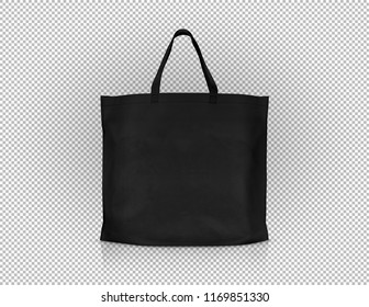 blank black fabric canvas shopping bag for save global warming isolated on virtual transparency grid background with clipping path ready for design template