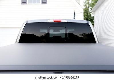Blank black full rear truck window, car window mockup