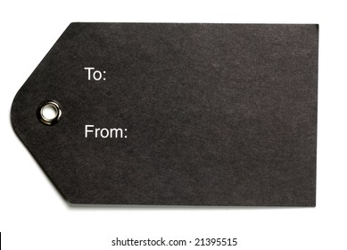 Blank black gift tag isolated on a white background