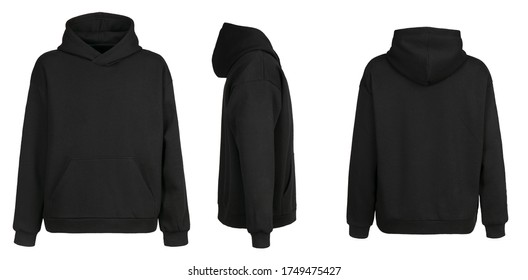 Blank black hoodie template. Hoodie sweatshirt long sleeve with clipping path, hoody for design mockup for print, isolated on white background. - Shutterstock ID 1749475427