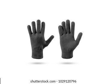 Blank black knitted winter gloves mock up set, front and back side view. Clear ski or snowboard mittens mockup, isolated on white. Warm hand clothes design template. Arm accessory presentation