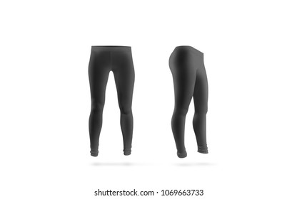 Blank black leggings mockup, front and side view, isolated. Women grey leggins template. Cloth pants design presentation. Sport pantaloons stretch tights model wearing.