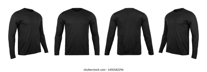 Blank black long sleve t-shirt mock up template, front and back and side view, isolated on white background with clipping path.