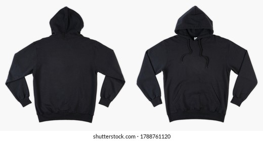 Blank black male hooded sweatshirt long sleeve with clipping path, mens hoody with zipped for your design mockup for print, isolated on white background. Template sport winter clothes. Blank hoodie.