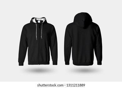 Blank black male Hoodie Sweatshirt long sleeve with clipping path, mens hoody with hood for your design Mock up, isolated on soft gray background.High resolution photo.