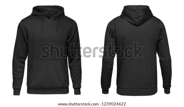 Blank black male hoodie sweatshirt long sleeve with clipping path, mens hoody with hood for your design mockup for print, isolated on white background. Template sport winter clothes.