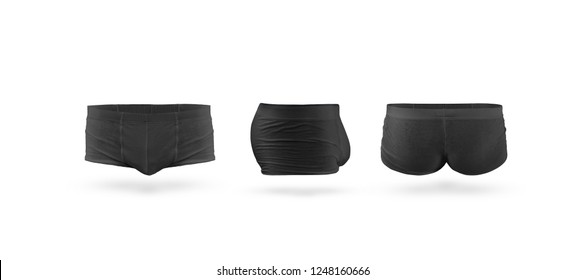 Blank black mens trunks underwear mockup set, isolated, front, back and side view. Empty textile trousers mock up. Slim compression skivvies template.