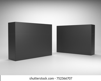 Blank black mock-up box product isolated. 3D rendering