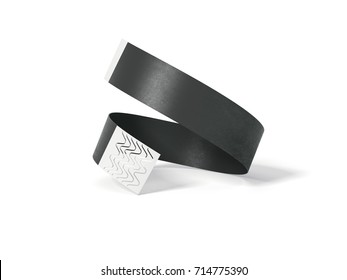 Blank black paper wirstband isolated on white background. 3d rendering