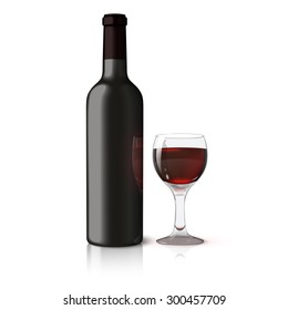 Blank black realistic bottle for red wine with glass of wine isolated on white background with reflection and place for your design and branding.
